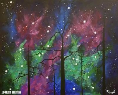"""Norrskens natt"". Akryl på canvas. 100 x 81 cm."