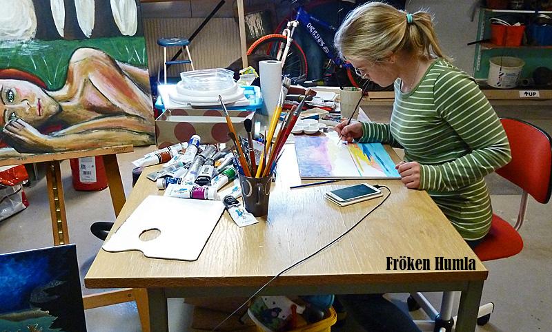 akvarell,ateljé,fröken Humla