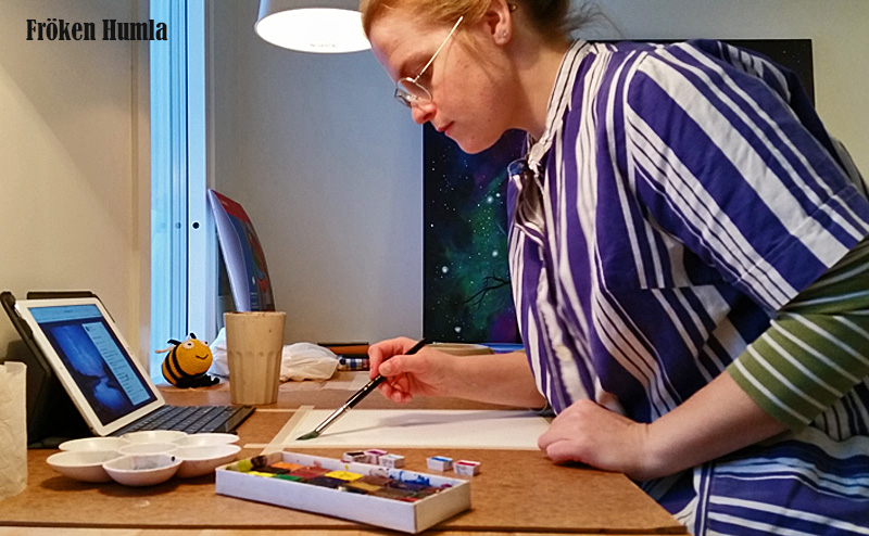 målar,akvarell,färger,fröken humla,jenny holmgren,konst,norrbotten