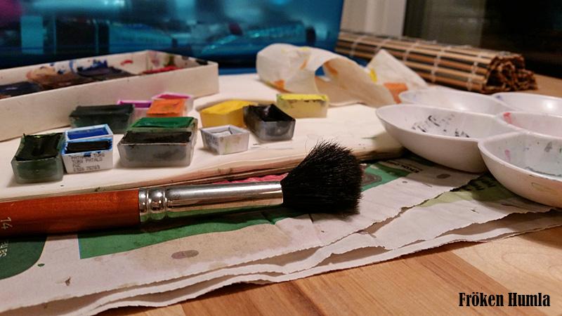 ateljé,måla,akvarell,fröken humla,norrbotten,jenny holmgren