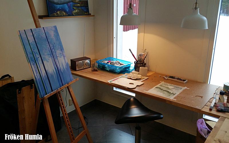 tavlor,måla,ateljé,konst,konstnär,fröken humla,jenny holmgren
