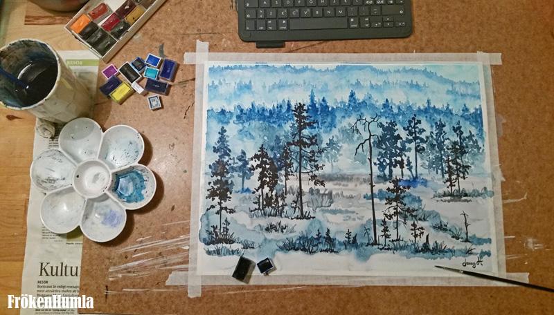 akvarell,konst,fröken humla,norrbotten,ateljé,jenny holmgren